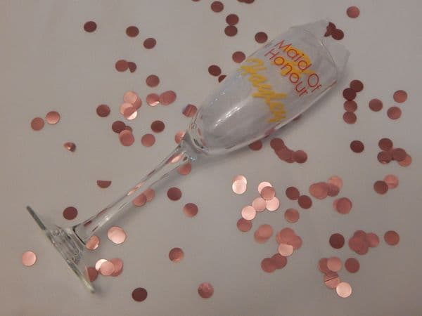 Personalised Wedding Champagne Glass Initial, Name & Role