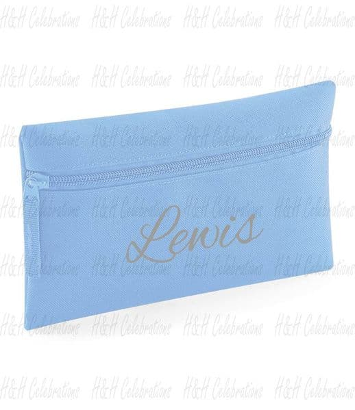 Sky Blue Personalised Pencil Case