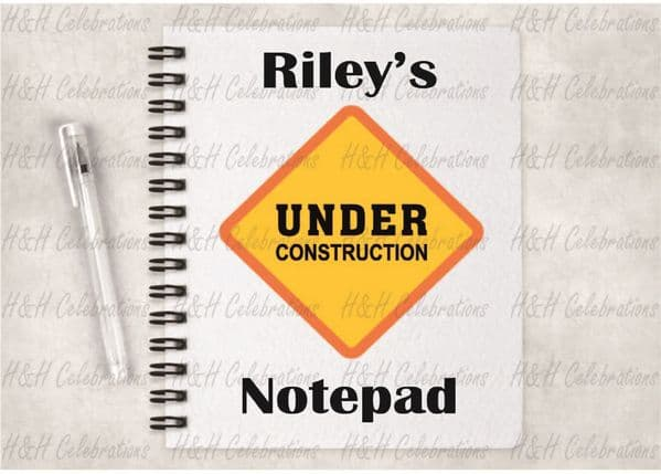 Under Construction A5 Lined Notepad