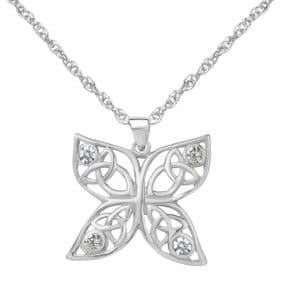 Celtic Butterfly Silver Pendant with Cubic Zirconia 9426