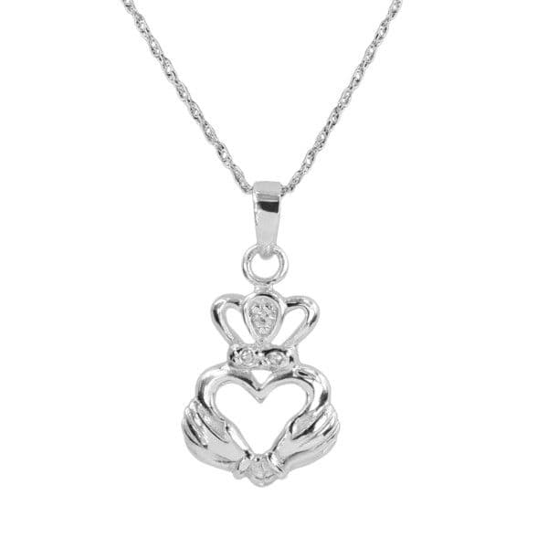 Sterling Silver Claddagh Heart With Cubic Zirconia Locket