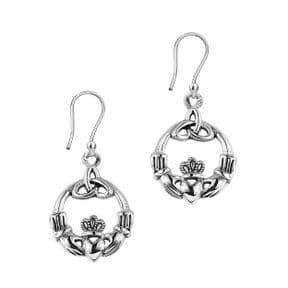 Celtic Claddagh Silver Round Drop Earrings 9243