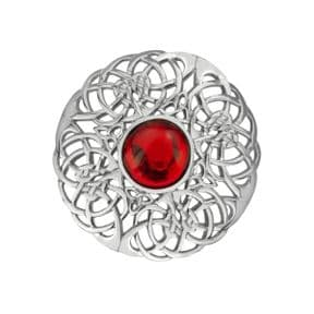 Celtic Knotwork Silver Plated Brooch Large with Ruby colour stone 0803
