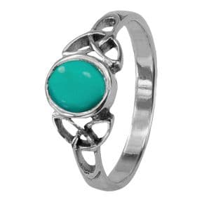 Celtic Trinity Knots Silver Birthstone Ring December - Turquoise 0559