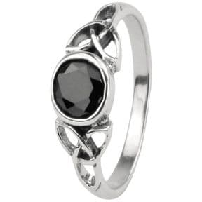 Celtic Trinity Knots Silver Ring with Black colour stone 0046