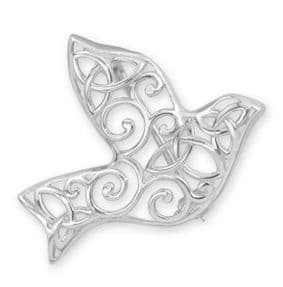 Iona Abbey's Dove Silver Brooch 9359