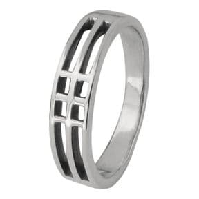 Mackintosh Lines Silver Ring 0013