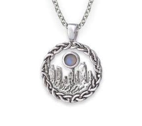 Outlander Inspired Standing Stones Rhodium Plated Pendant Large with Moonstone 9823