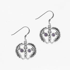 Scottish Thistle Heart Silver Earrings with Marcasite and Amethyst colour Stone 1917
