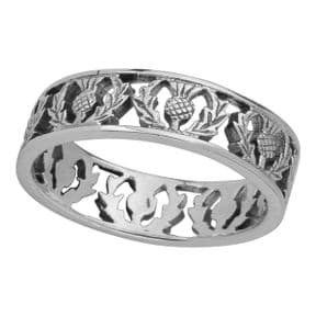 Scottish Thistle Silver Band Ring 0501