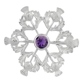 Scottish Thistle Silver Brooch with Amethyst colour stone 0463