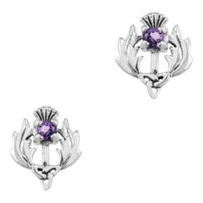 Scottish Thistle Silver Earrings with Amethyst colour stone 9145