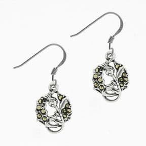 Scottish Thistle Silver Earrings with Marcasite 1915