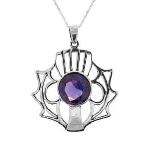 Scottish Thistle Silver Pendant Large with Amethyst colour stone 1079