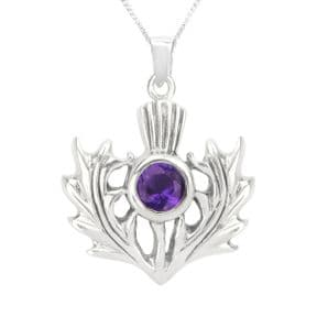 Scottish Thistle Silver Pendant with Amethyst colour stone 0727