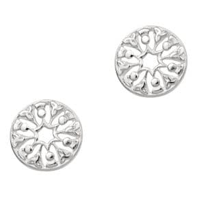 Scottish Thistle Trinity Knots Silver Round Stud Earrings 9082