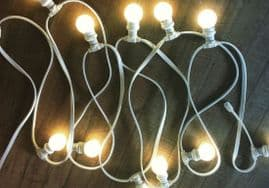 100M Festoon - 200 lamps - White Cable (0.5M Lamp Spacing)