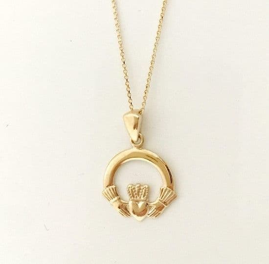 10K Gold Claddagh Pendant By Facet Ireland