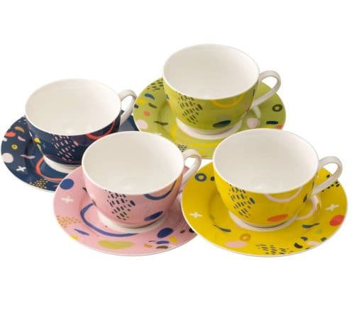 Aynsley Verdant Tea Cups and Saucers Set of Four