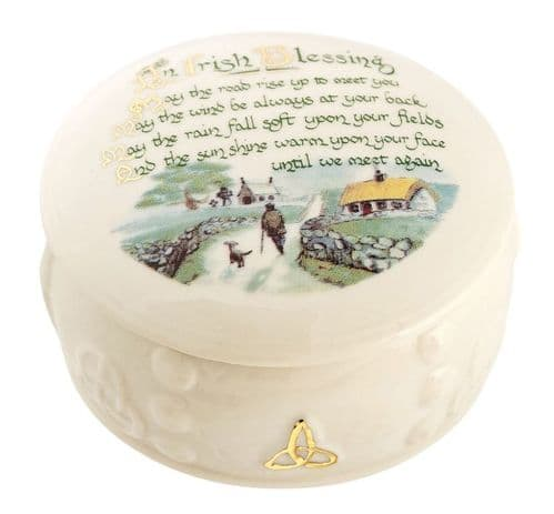 Belleek China Irish Blessing Trinket Box