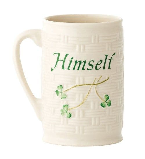 "Belleek Classic Shamrock ""Himself"" Mug"