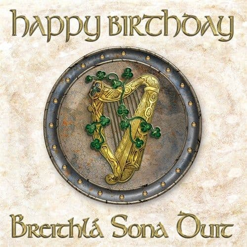Celtic Birthday Card Harp and Shamrocks Gaeilge