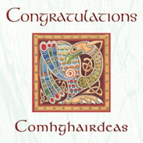 Celtic Congratulations Card. Irish Language Translation.