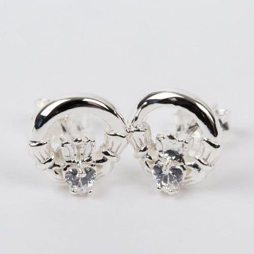 Claddagh Earrings Sterling Silver Clear CZ Stone