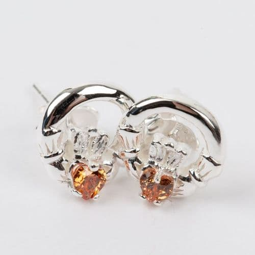 Claddagh Earrings Sterling Silver CZ Citrine Stone