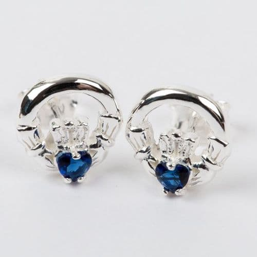 Claddagh Earrings Sterling Silver CZ Sapphire Stone