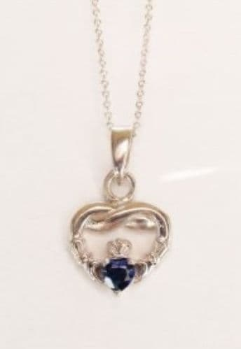 Claddagh Pendant Sterling Silver Sapphire CZ