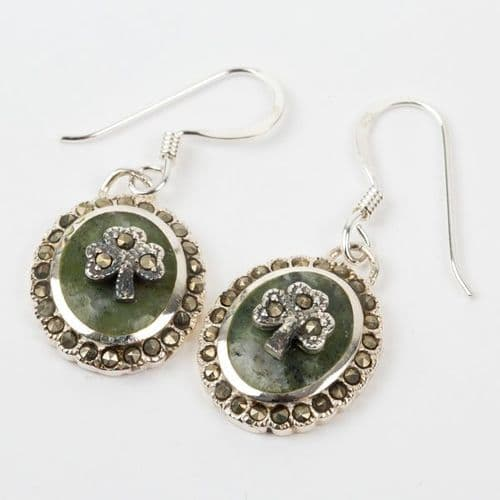 Connemara Marble Marcasite Earrings With Shamrock Sterling Silver
