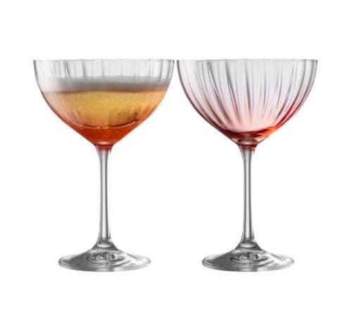 Galway Crystal Erne Blush Colour Champagne Saucer Set of Two