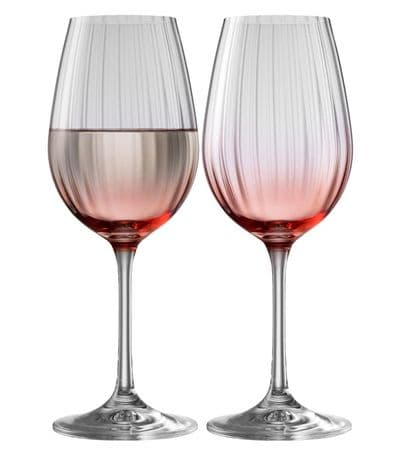 Galway Crystal Erne Wine Goblets Rose Colour Pair