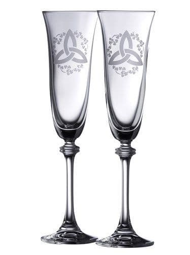 Galway Crystal Trinity Knot Shamrock Liberty Flutes (Pair)