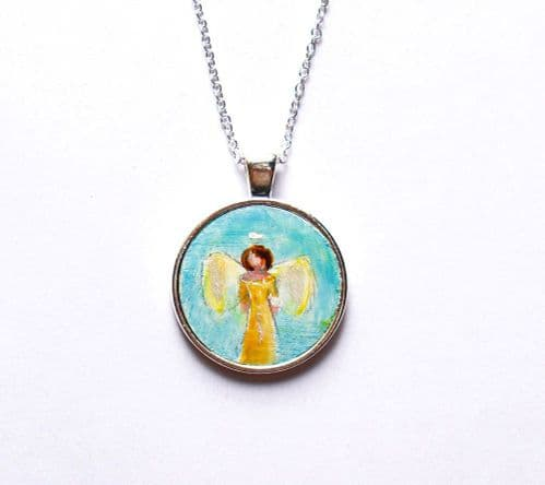Hand Painted Angel Necklace