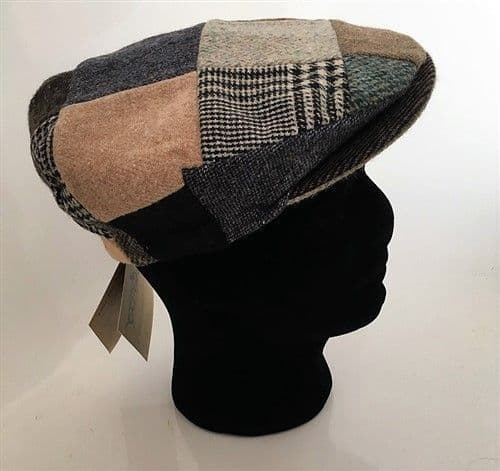 Hanna Hats Irish Tweed Patchwork Peaked Cap - Medium (Y1)