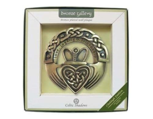 Irish Claddagh Ring Bronze Plated Wall Plaque