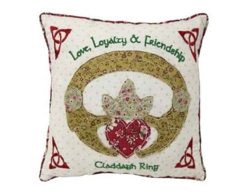 Irish Claddagh Ring Patchwork Cushion 10""