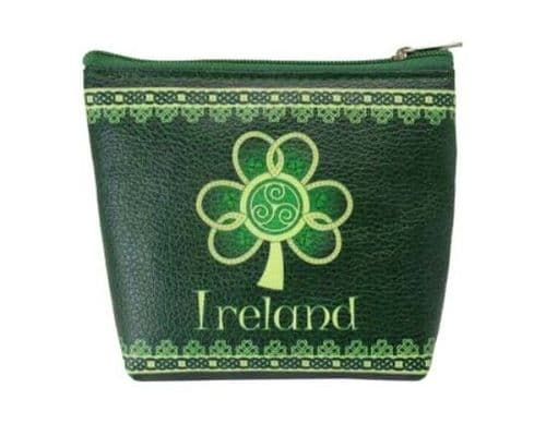 Irish Shamrock Zip Coin Purse