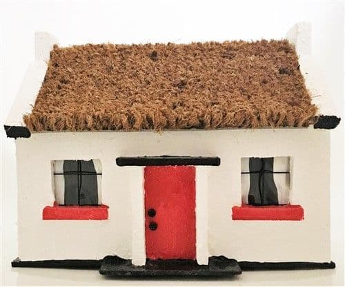 Irish Thatched Cottage Ornament. Light up.