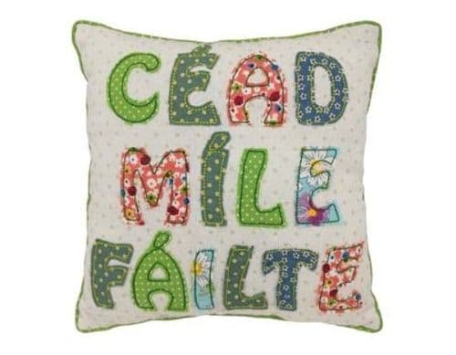 Irish Welcome Patchwork Cushion 10""