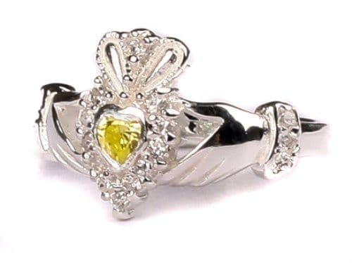 Ladies Sterling Silver Claddagh Ring August Birthstone Peridot