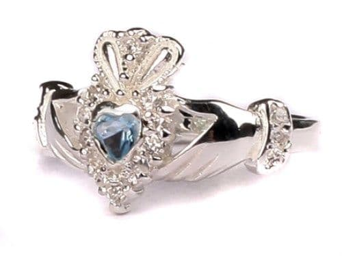 Ladies Sterling Silver Claddagh Ring December Birthstone