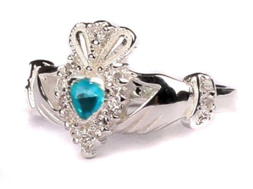 Ladies Sterling Silver Claddagh Ring March Birthstone