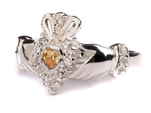 Ladies Sterling Silver Claddagh Ring November Birthstone