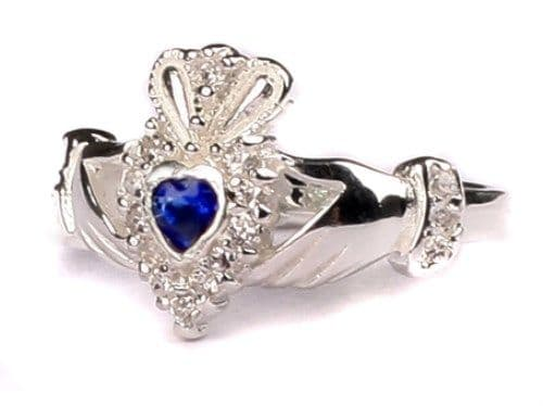 Ladies Sterling Silver Claddagh Ring September Birthstone