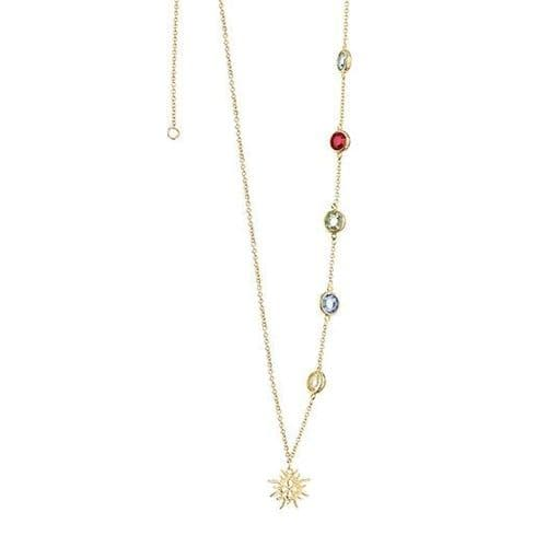 Newbridge Amy Necklace with Multi-coloured Stones Gold Plate