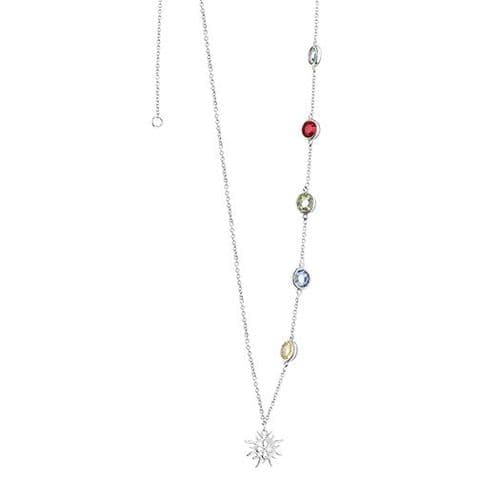 Newbridge Amy Necklace with Multi-coloured Stones Silver Plate