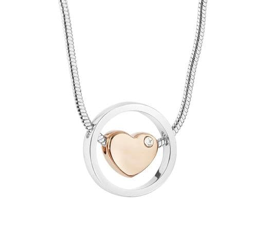 Newbridge Jewellery Silver Plated Pendant Rose Gold Heart